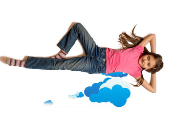 Isolated photo of cute girl dreaming and lying on drawn clouds