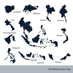 Asian Economic Community, Association of Southeast Asia map vect