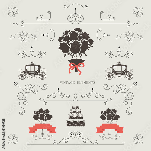 set of vintage elements wedding invitation borders vector stock