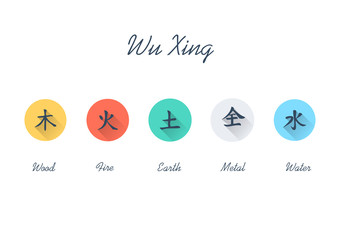Five Element Flat Icon Set - Chinese Wu Xing symbols