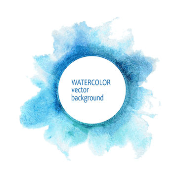 Watercolor circle hand paint on white background