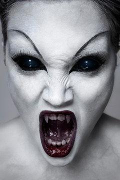 Studio portrait of woman with zombie makeup