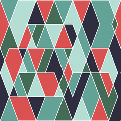 Colorful seamless pattern with parallelepipeds and triangles.