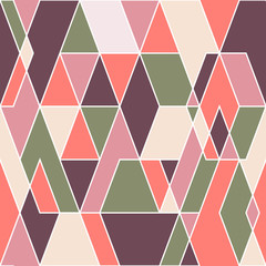 Vintage seamless pattern with colorful triangles.