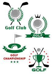 Golf game emblems with equipments and heraldic elements