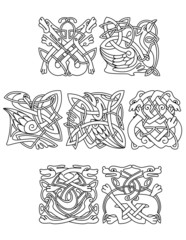 Animals and birds with celtic tribal ornament