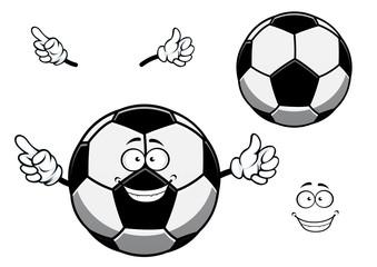 Football or soccer ball cartoon character or mascot