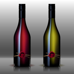 bottle of wine red and white