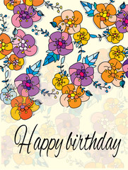 abstract background with flowers  with the words happy birthday
