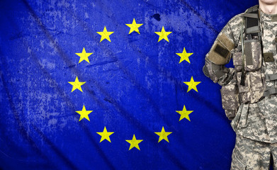 soldier with European Union flag