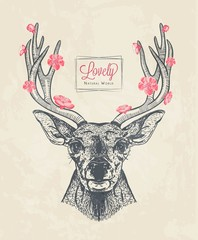 hand drawn deer head with flowers