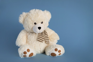 Fluffy teddy bear toy on a blue background