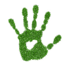 Green grass print of human hand
