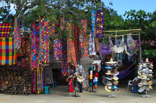 Mexican souvenirs in improvised open-air shop