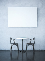 Blank poster on wall. 3d rendering