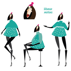 Set of woman motions