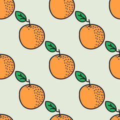 Seamless hand-drawn pattern with orange. Vector illustration.