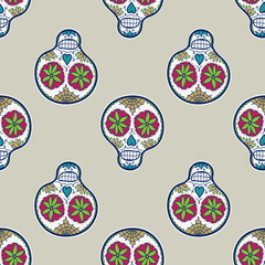 Seamless pattern with sugar skull. Vector illustration. Hand