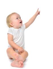 Infant child baby toddler sitting raise hand up pointing finger