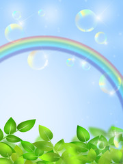 新緑と虹とシャボン玉