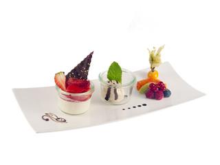 asparagus cream pudding, balsamic sorbet & fruits