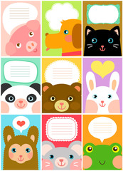 set of labels with cartoon animals