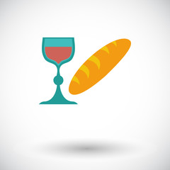 Bread and wine single icon.