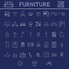 Set of furniture outline icons. Thin line design. Home elements