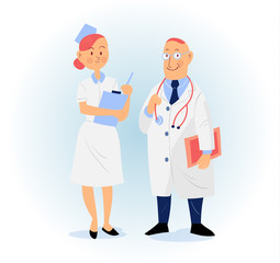 doctor and nurse vector illustration