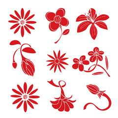 Set of red flower design elements
