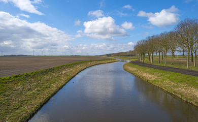 Canal under a blue cloudy sky in spring