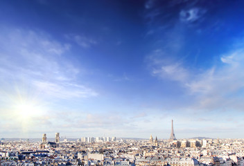 Panoramic view of Paris at warm sunrise