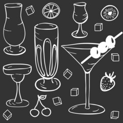 The pattern of glasses for cocktails