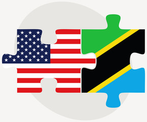 USA and Tanzania Flags in puzzle