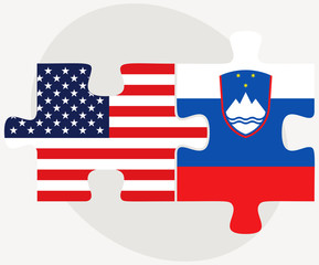 USA and Slovenia Flags in puzzle