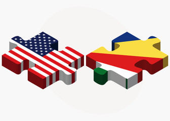 USA and Seychelles Flags in puzzle