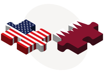USA and Qatar Flags in puzzle