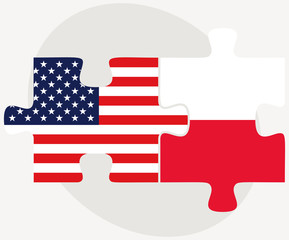 USA and Poland Flags in puzzle