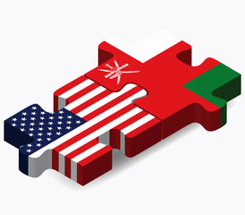 USA and Oman Flags in puzzle