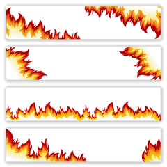 Set of  banners  flame