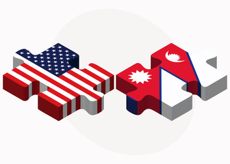 USA and Nepal Flags in puzzle