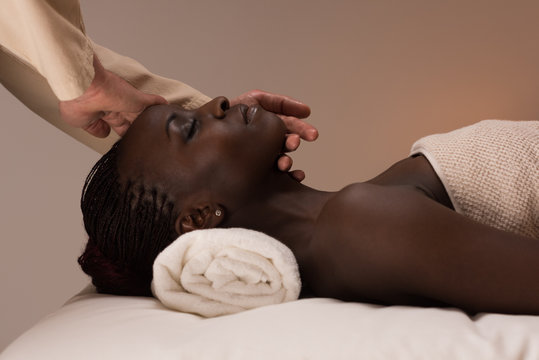 Woman enjoys massage