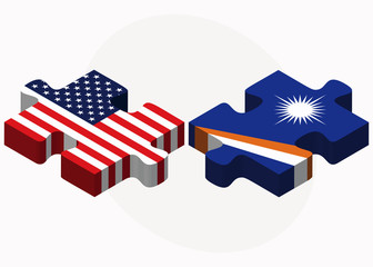 USA and Marshall Islands Flags in puzzle