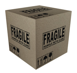 3D Cardboard box with fragile and this side up text and icons