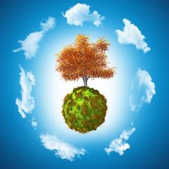 3D Walnut tree on grassy globe