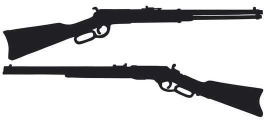 Old american rifles, vector illustration, hand drawing