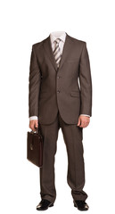 Businessman in suit without head, standing and holding suitcase