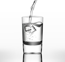 Vector water in glass with ice