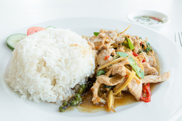 Stir-Fried Pork with Thai Herbs, spicy
