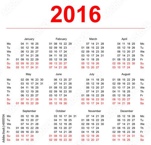 2016 Calendar Template Vertical Weeks First Day Monday Stock